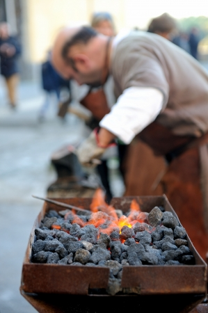 medieval blacksmith: medieval blacksmith Stock Photo