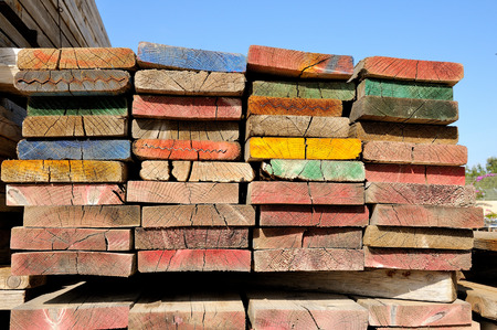 multicolor scaffolding planks photo