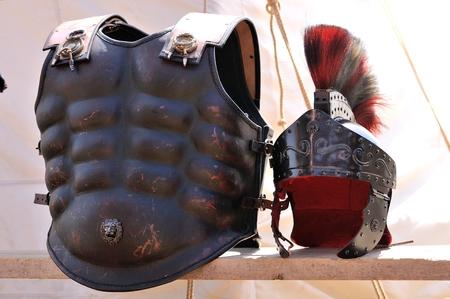 black ancient roman armor Stock Photo