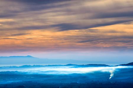 autumn foggy landscape Stock Photo