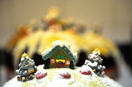 decorations up to traditional italian christmas cake chocolat
