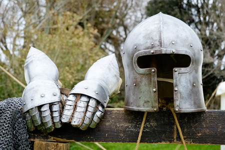 ancient helmet and two glove armor