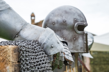 ancient helmet and two glove armor close up