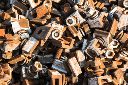 bolts railways close-up Stock Photo