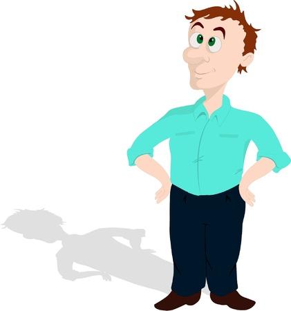 De man met een schaduw Stock Illustratie