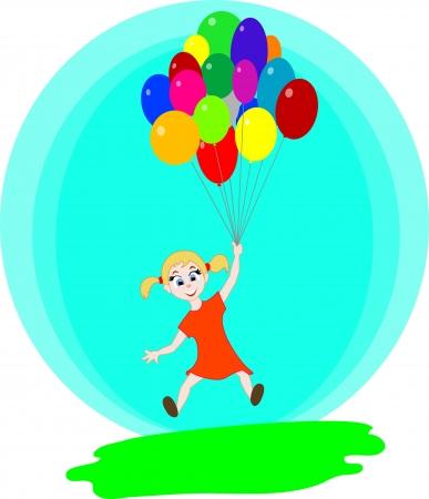 Het meisje vliegen met de ballonnen