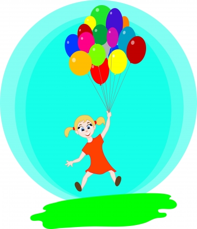 The girl flying with the balloons
