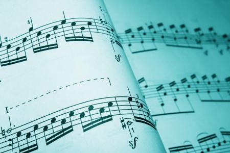 letras musicales: de música en un tono cian Foto de archivo