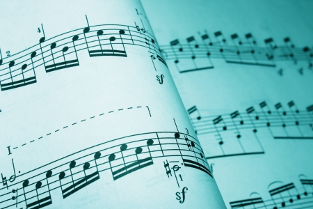 musical notes: sheet music in a cyan tone Stock Photo