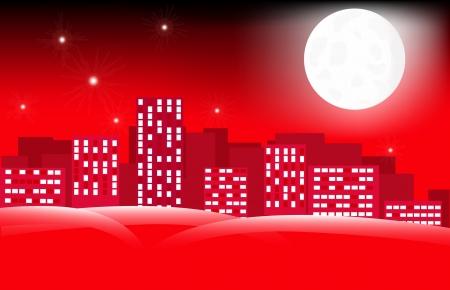 moon in city skyline Иллюстрация