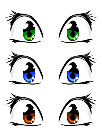 girl happy: cartoon eyes isolated Illustration