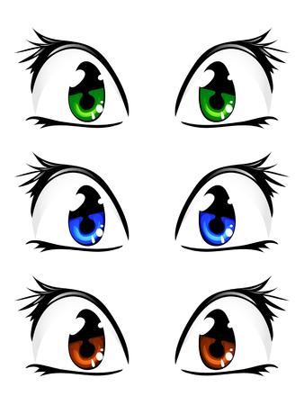 cartoon eyes isolated 向量圖像