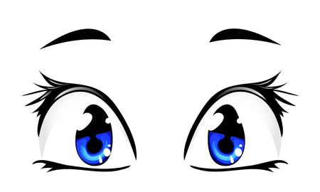 blue cartoon eyes isolated