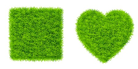 grass square and heart