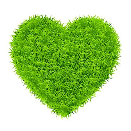 corazón hierba verde