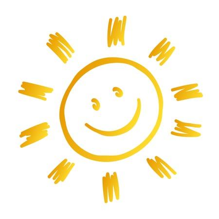 zon glimlachte Stock Illustratie
