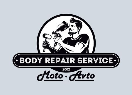 Auto moto body repair service, Automotive icon. Car logo template, car paint and care repair logo design.