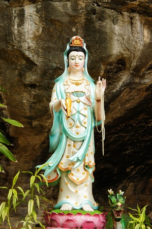 goddess of mercy: picture of a statue of kuan yin, goddess of mercy Stock Photo