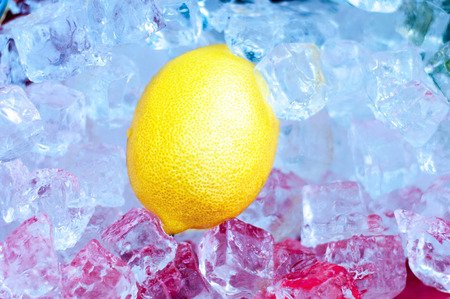 Ice and lemon background. Close-up 写真素材