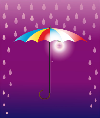 Umbrella-floor lamp, it is convenient, when darkly and it is raining