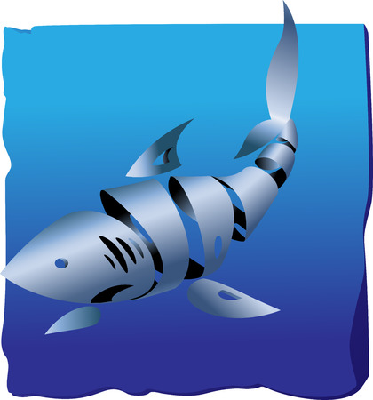 twirled: Decorative shark on a blue background from the twirled ribbon