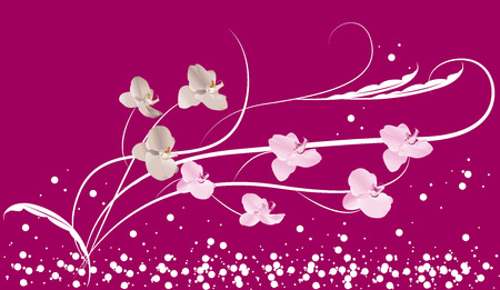 Flower composition on a lilac background Vector