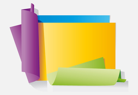 Colour sheets of paper on a neutral background