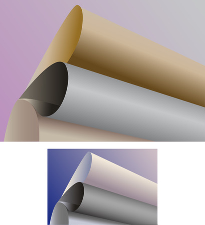 curtailed: Paper curtailed into rolls on a colour background