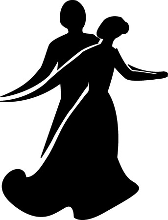 Dancing couple silhouette on a white background Illustration