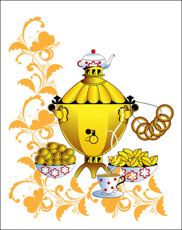 Samovar on a white background with an entertainment Stock Vector - 6231676