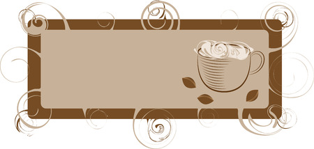 Framework coffee with curls and a cup Vector