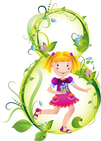 The girl with spring colours for mum on a vegetative background Stock Vector - 6424634