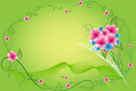 Spring bouquet on a green background of tapes and colours Stock Vector - 6472282