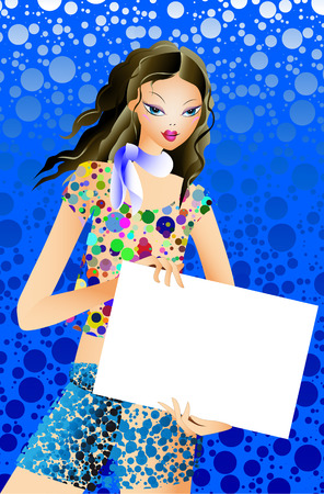 Model with a tabloid on a blue background