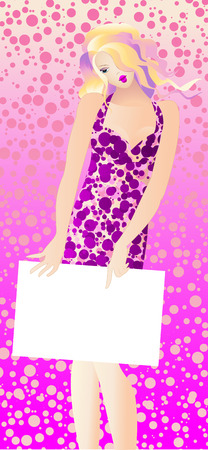 Model with a tabloid on a pink background Illustration