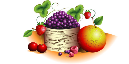 bast basket: Fruit and berries in a bast basket on a white background