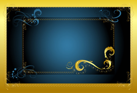Decorative framework for the text on a dark blue background with a gold fringing Stock Vector - 6590011