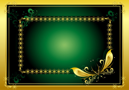 Decorative framework for the text on a dark green background with a gold fringing Stock Vector - 6590015