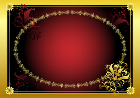 Decorative framework for the text on a dark red background with a gold fringing Stock Vector - 6590014