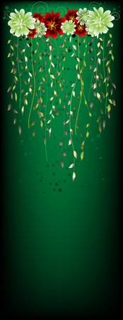 Banner with a spring composition from branches and colours on the green Stock Vector - 6633105