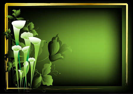 Flower frame for the text on a dark green background Stock Vector - 6633107