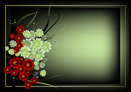 Frame for the text with white and red flowers on the green Stock Vector - 6633106