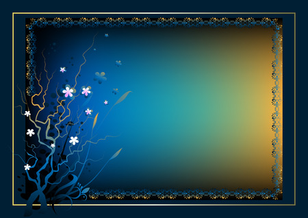 Frame for the text with a flower composition on a dark blue background Illustration