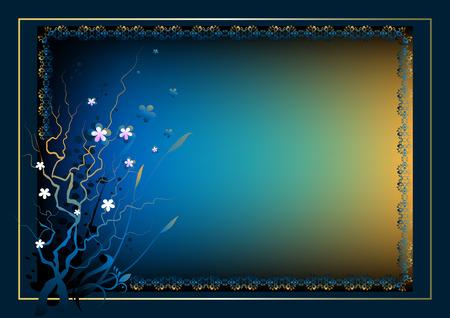 bilderrahmen gold: Rahmen f�r den Text mit einer Blume-Komposition auf einem dunklen blau Hintergrund