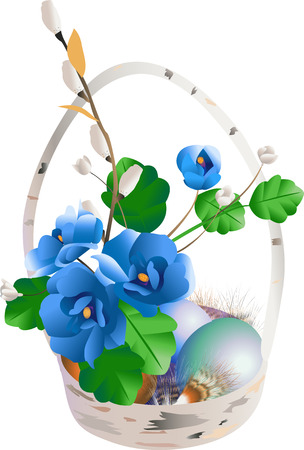 Easter composition from flower, eggs, feathers on a white background Vector