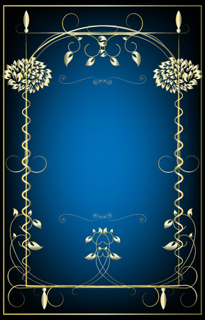 Decorative framework for the text on a dark blue background with a gold fringing Stock Vector - 6683732