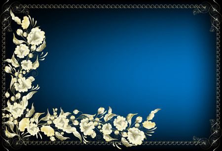 Framework for the text with  flowers from gold on a dark blue background