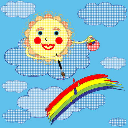 The sun and rainbow imitation of application from a fabric on a blue background Vector