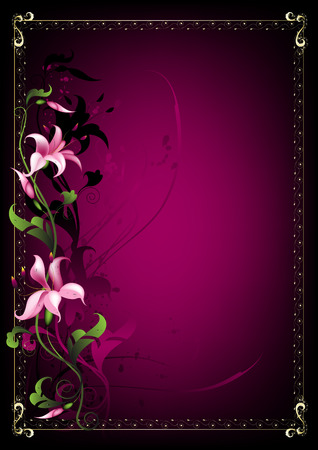 Background for the Lily text on a claret background in a gold framework Stock Vector - 6785375