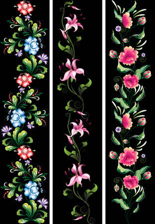 Decorative flowers in national style on a black background